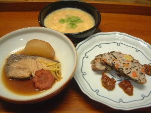 ブリの照り焼き、海老とコーンのスープ、和風ミートローフ