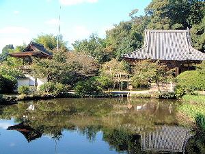 長岳寺本堂 放生池 鐘楼門