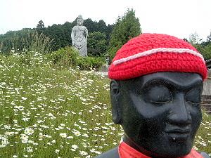花と大観音石像 壷阪寺