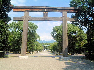 橿原神宮の参道 鳥居