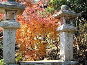 永代常夜燈と紅葉 奈良県の長谷寺
