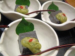 黒胡麻豆腐 大和まな味噌