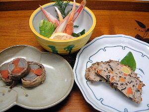 和風ミートローフ 牛肉の八幡巻き 蟹酢