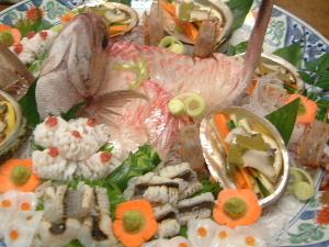 大皿盛り 鯛の姿造り