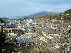 聖林寺からの眺望 三輪山と箸墓古墳
