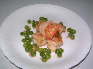 海老とえんどう豆の炒め物