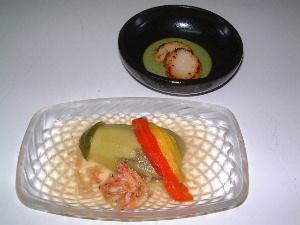 水茄子の翡翠煮と帆立の香草ソース